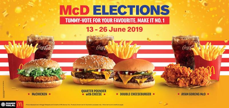 Cast your votes now in the McD Elections. — Picture courtesy of McDonald's Malaysia