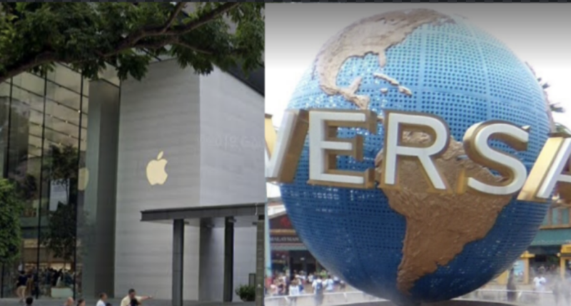 Apple Orchard Road and Universal Studios Singapore. (SCREENSHOTS: Google Maps)