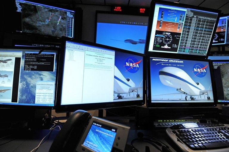 View of pilot area in flight ops for the Global Hawk drone at Edwards Air Force Base in California, August 31, 2010