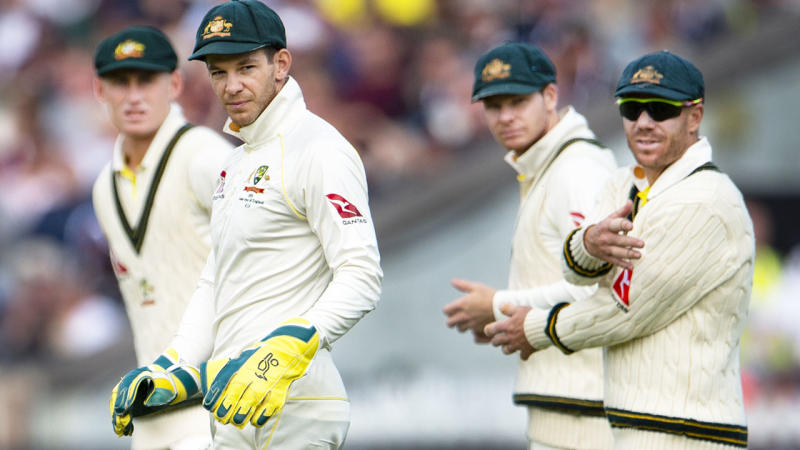 Tim Paine, pictured here with teammates Marnus Labuschagne, Steve Smith and David Warner during the Ashes.