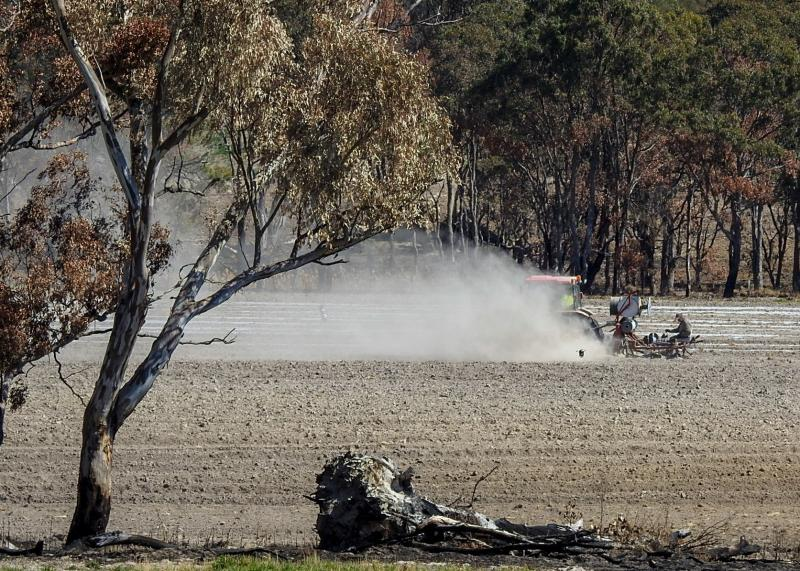 A trail of dust blows behind a tractor in a dry field.