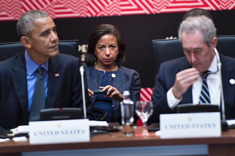 National security advisor Susan Rice (C) watches US President Barack Obama (L) and US Trade Representative Michael Froman before a meeting with Trans-Pacific Partnership Leaders during the Asia-Pacific Economic Cooperation meeting at the Lima Convention Center November 19, 2016 in Lima, Peru. (Brendan Smialowski /AFP via Getty Images)