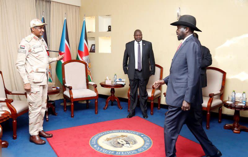 South Sudan's President Salva Kiir Mayardit attends meeting in Juba