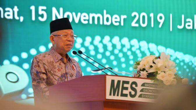 Wakil Presiden Ma'ruf Amin saat menghadiri Silaturahmi Kerja Nasional Masyarakat Ekonomi Syariah di JCC Senayan, Jakarta, Jumat (15/11/2019).