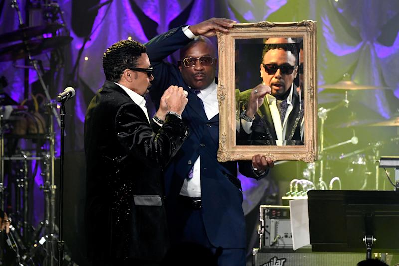 BEVERLY HILLS, CA - FEBRUARY 09: Morris Day (L) and Jerome Benton of The Time perform onstage during the Pre-GRAMMY Gala and GRAMMY Salute to Industry Icons Honoring Clarence Avant at The Beverly Hilton Hotel on February 9, 2019 in Beverly Hills, California. (Photo by Frazer Harrison/Getty Images for The Recording Academy)