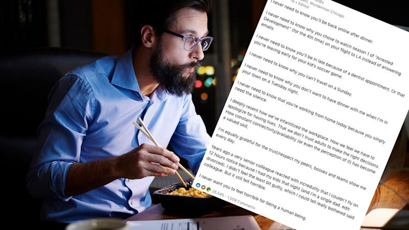 A businessman wearing glasses sits at his laptop late at night eating a meal while working, and a portion of text posted on LinkedIn is layered on top. Images: Getty, LinkedIn (Ian Sohn).
