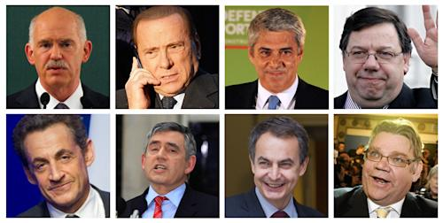This combination of Associated Press file photos shows, from top left, former Greek Prime Minister George Papandreou, former Italian premier Silvio Berlusconi, former Portugal interim Prime Minister and Socialist Party leader Jose Socrates, former Irish Prime Minister Brian Cowen, former French President Nicolas Sarkozy, former British Prime Minister Gordon Brown, former Spain Prime Minister Jose Luis Rodriguez Zapatero, and Chairman Timo Soini of the True Finns. When Nicolas Sarkozy was defeated Sunday, May 6, 2012, in France's presidential runoff by Socialist challenger Francois Hollande, he joined a series of European leaders booted from office because of public anger over austerity measures and economic crisis. Almost every crisis-hit European country that has held an election since disaster struck in 2009 has thrown out its leader. (AP Photo/File)