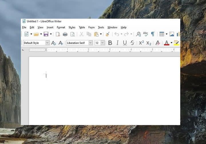 LibreOffice new document screenshot