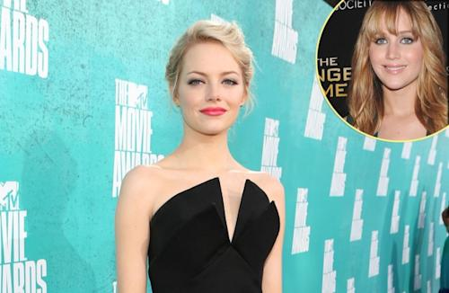 Emma Stone, inset: Jennifer Lawrence -- Getty Images