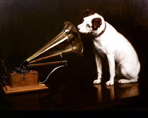 Undated handout photo issued by HMV, via PA of the famous HMV trademark, the original 1898 His Master's Voice oil painting. British music and entertainment retailer HMV admitted defeat on Tuesday after more than 90 years on the U.K high street, suspending trading in its shares and calling in administrators to try to salvage any viable parts of the business. HMV is the last big retail chain selling recorded music in Britain and employs more than 4,000 people working in 238 stores, which will remain open for the time being. (AP Photo/HMV, PA) UNITED KINGDOM OUT NO SALES NO ARCHIVE