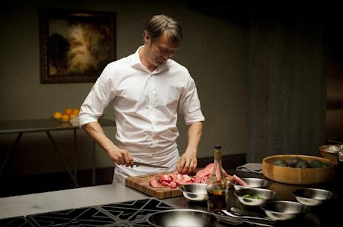"This TV image released by NBC shows Mads Mikkelsen as Dr. Hannibal Lecter in a scene from ""Hannibal,"" premiering Thursday, April 4, at 10 p.m. on NBC. (AP Photo/NBC, Brooke Palmer)"