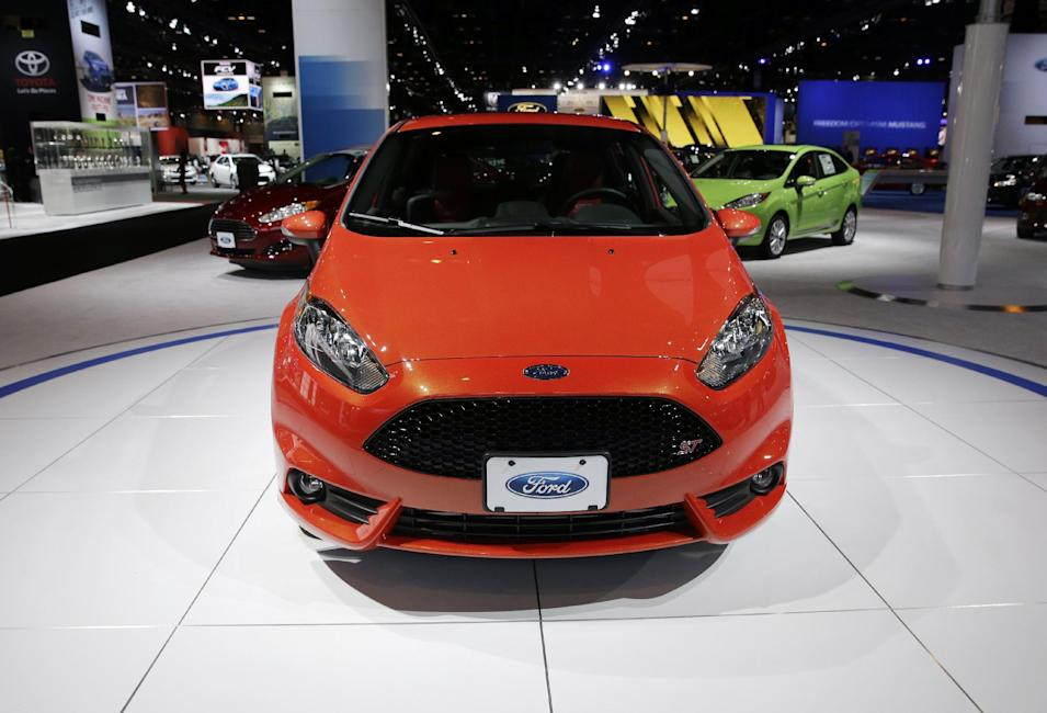 2014 Ford Fiesta Hatch ST is displayed during the media preview of the Chicago Auto Show at McCormick Place in Chicago on Friday, Feb. 7, 2014. Chicago Auto Show will be open to the public February 8 through February 17. (AP photo/Nam Y. Huh)