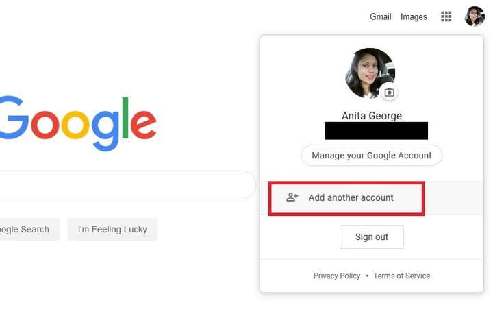Gmail sign in screenshot