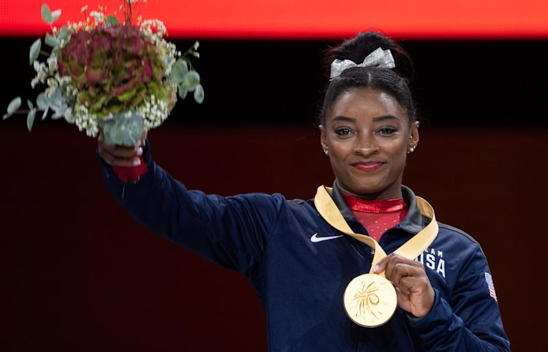Simone Biles continued to make history at the World Championships on Saturday. (Getty Images)