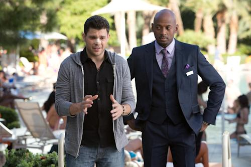 """This image released by CBS Films shows Jerry Ferrara, left, and Romany Malco in a scene from """"Last Vegas."""" (AP Photo/CBS Films, Chuck Zlotnick)"""