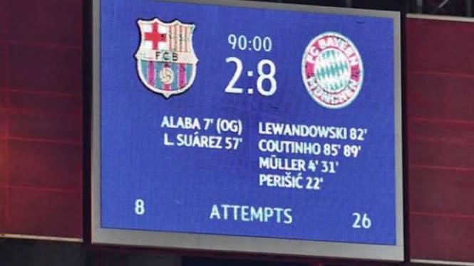 Kekalahan 2-8 dari Bayern Munich Bikin Barcelona Malu Main Bola Lagi