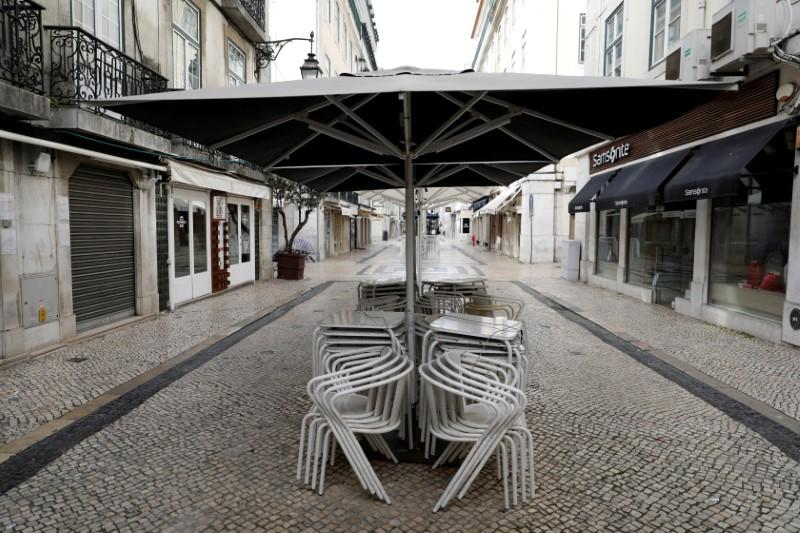 FILE PHOTO: General view of closed shops and restaurants as the spread of the coronavirus disease (COVID-19) continues in downtown Lisbon