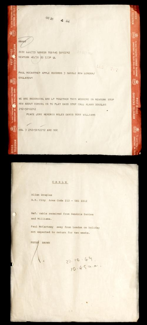 "This image made available by Hard Rock International Friday, May 10, 2013, shows a telegram addressed to Paul McCartney and the reply. Fans of the late trumpet and guitar masters have long known that Miles Davis and Jimi Hendrix had been making plans to record together in the year before Hendrix's sudden death in 1970. But less attention has been paid to the bass player they were trying to recruit: Paul McCartney, who was busy with another band at the time. This tantalizing detail about the super group that never was — jazz standout Tony Williams would have been on drums — is contained in an oft-overlooked telegram that Hendrix sent to McCartney at The Beatles' Apple Records in London on Oct. 21, 1969. ""We are recording and LP together this weekend,"" it says, complete with a typographical error. ""How about coming in to play bass stop call Alan Douglas 212-5812212. Peace Jimi Hendrix Miles Davis Tony Williams."" The telegram, advising McCartney to contact producer Douglas if he could make the session, has been part of the Hard Rock Cafe memorabilia collection since it was purchased at auction in 1995. Still it has only generated attention in recent months with the successful release of ""People, Hell & Angels,"" expected to be the last CD of Hendrix's studio recordings. (AP Photo/Hard Rock Cafe)"