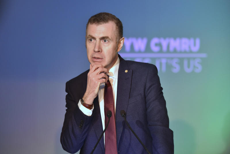 Britain's Plaid Cymru leader Adam Price speaks during the launch of his party's manifesto in Nantgarw, Wales, Friday Nov. 22, 2019, ahead of the general election on Dec. 12. (Ben Birchall/PA via AP)