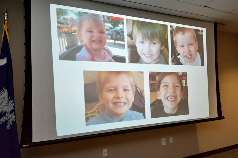 The five children allegedly killed by Timothy Ray Jones Jr are displayed on a screen. Source: AP