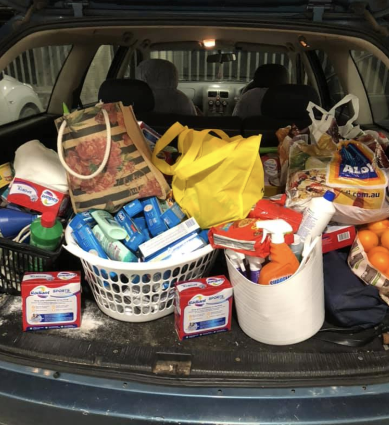 A car packed with supplies ready to go inland from the Central Coast. Source: Supplied