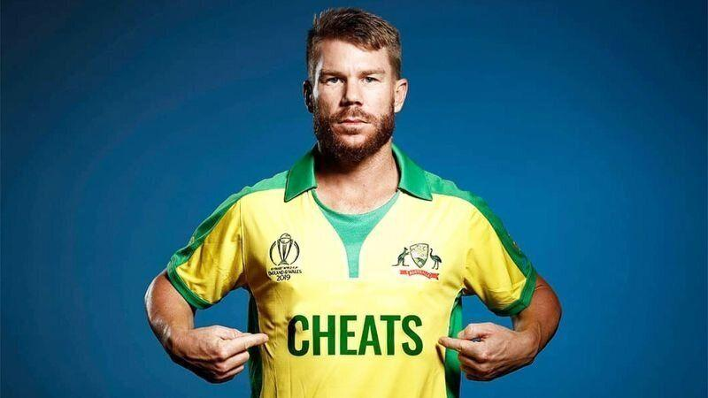 The Barmy Army's social media account photoshopped 'cheats' on David Warner's jersey. (Image: @englandsbarmyarmy)