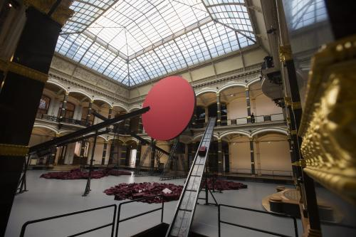 General view inside the main hall of the Martin-Gropius-Bau museum with the art work ' Symphony For A Beloved Sun' by Indian Artist Anish Kapoor in Berlin , Friday, May 17, 2013. The exhibition 'Kapoor In Berlin' will run from May 18, until Nov. 24, 2013. (AP Photo/Markus Schreiber)