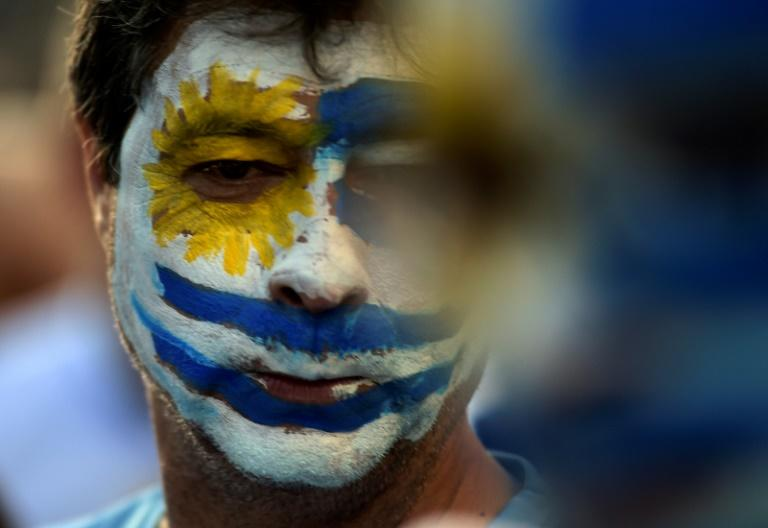 A supporter of Uruguay's presidential candidate Luis Lacalle Pou, with his face painted in the colors of Uruguay's flag, attends the candidate's final campaign rally