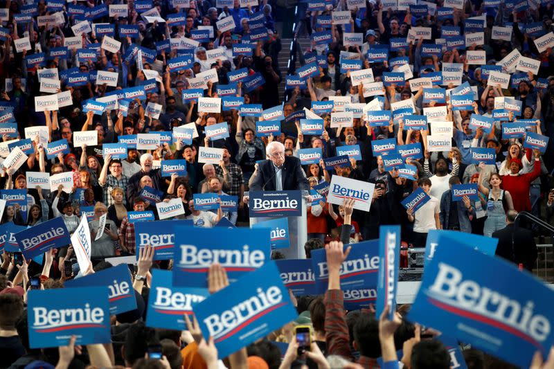 FILE PHOTO: Democratic U.S. presidential candidate Senator Bernie Sanders speaks during a campaign rally at the University of Houston in Houston