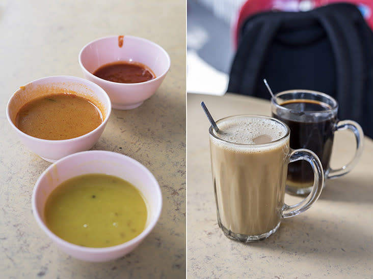 The indispensable trinity: dhal, curry and 'sambal' (left). 'Kopi' or 'kopi O'? (right)