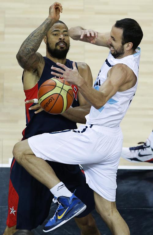 Argentina's Manu Ginobili, right, is defended by United States' Tyson Chandler during a men's basketball semifinal game at the 2012 Summer Olympics, Friday, Aug. 10, 2012, in London. (AP Photo/Victor R. Caivano)