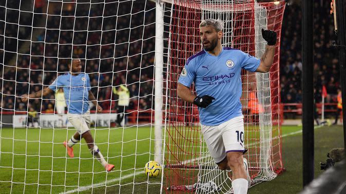 Sergio Aguero Bawa Manchester City Pulang dari Markas Sheffield United dengan 3 Poin