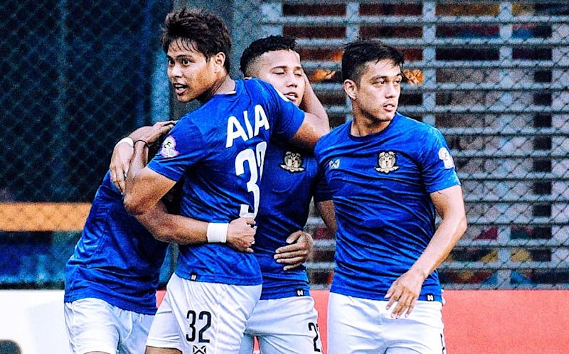 Hougang United players celebrate scoring against Tampines Rovers in their Singapore Premier League match. (PHOTO: Facebook/Singapore Premier League)