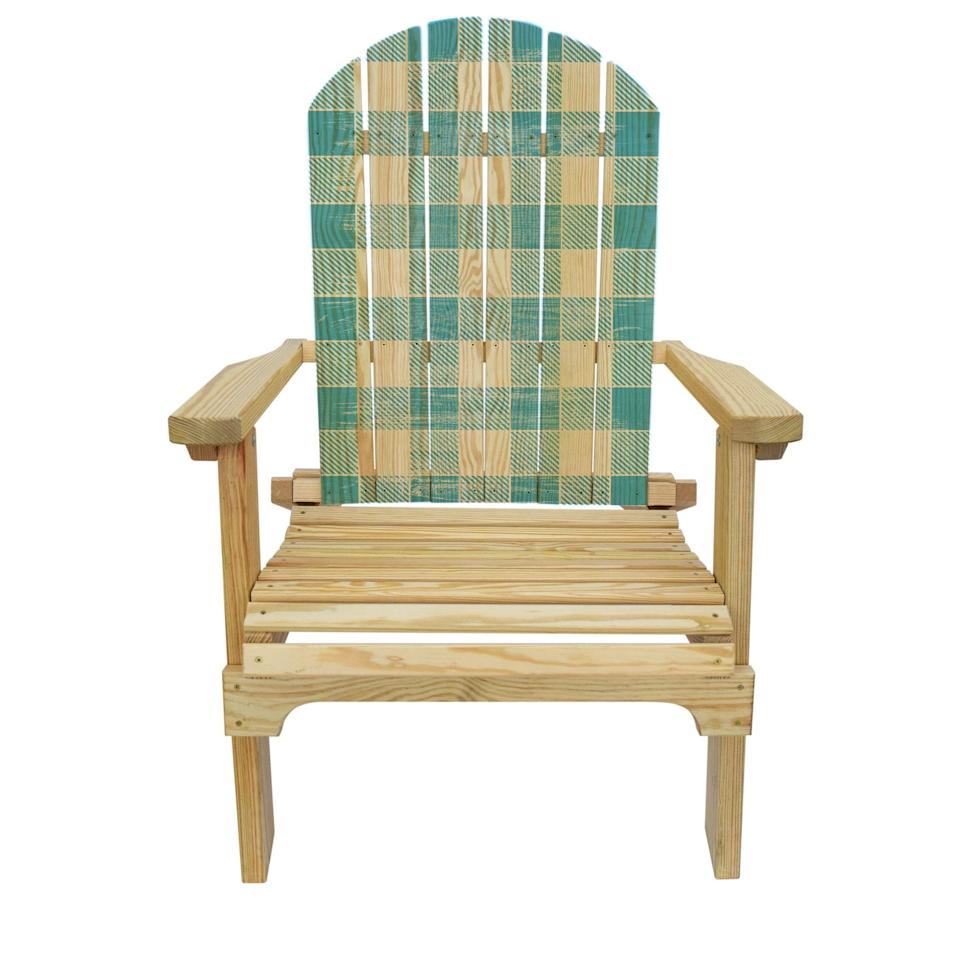 "<p><strong></strong></p><p>slickwoodys.com</p><p><strong>$125.00</strong></p><p><a href=""https://www.slickwoodys.com/collections/country-living-adirondack-chairs/products/country-living-blue-checker-pattern-adirondack-chair"" target=""_blank"">Shop Now</a></p><p>The blue pattern on this checked Adirondack chair mimics the look of an old-school webbed lawn chair. This pine model folds up for easy storage.</p>"