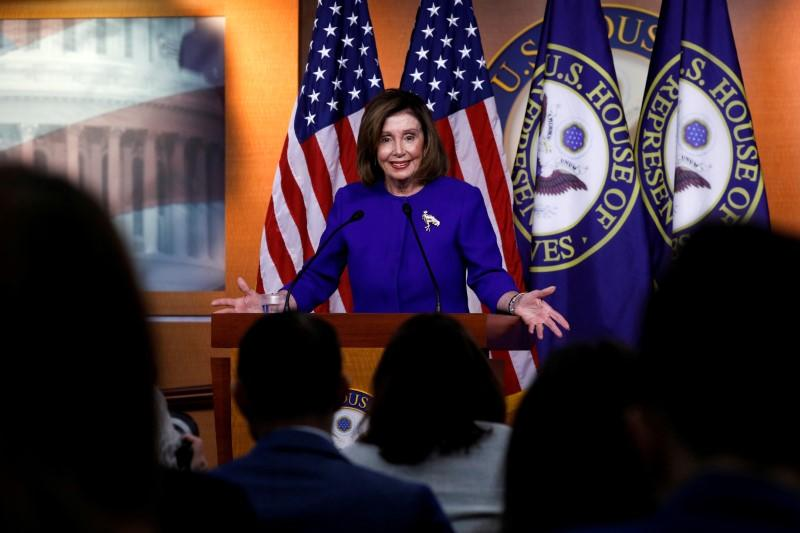 FILE PHOTO: U.S. House Speaker Pelosi holds weekly news conference on Capitol Hill in Washington