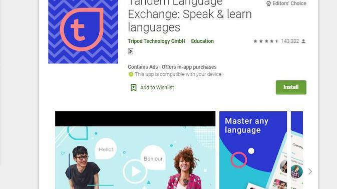 Tandem Language Exchange (sumber: Play Store)
