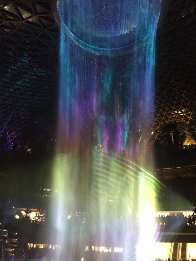 After it gets dark from 7:30pm onwards fur the full effect of the Rain Vortex's Sound & Light show. Photo: Yahoo Lifestyle/Yaya Stempler