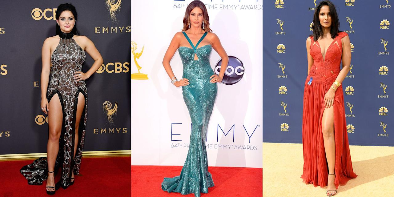 <p>Every year our favorite television stars come together to celebrate the best of TV—and what a better excuse to get all dressed up for the red carpet. From thigh-high slits, to dangerously low necklines, see our favorite sexy dresses over the years. </p>
