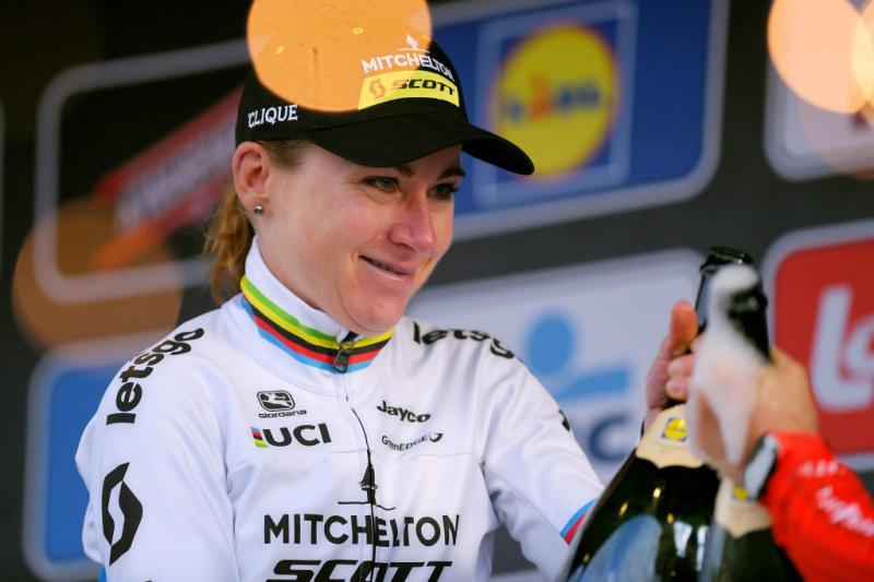 Mitchelton-Scott's Annemiek Van Vleuten celebrates victory at the 2020 Omloop Het Nieuwsblad