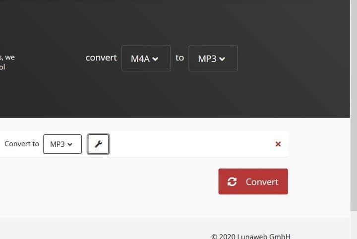 Convert button screenshot