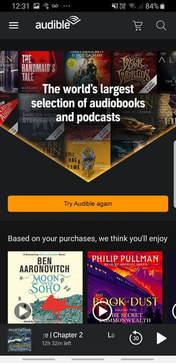 Screenshot of Audible app home page