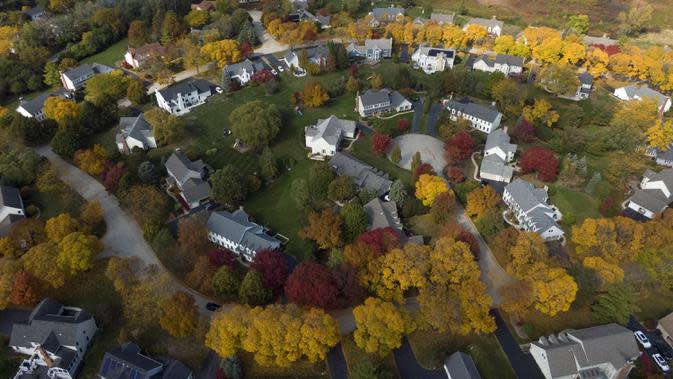 Dalam gambar yang diambil dengan drone ini memperlihatkan warna-warni pepohonan saat musim gugur di subdivisi Flint Creek, Barrington, Illinois, Amerika Serikat, 12 Oktober 2020. (Mark Welsh/Daily Herald via AP)