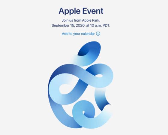 蘋果秋季發布會將於美東時間9月15日舉辦,圖為其發佈會主視覺。圖:翻攝自網路