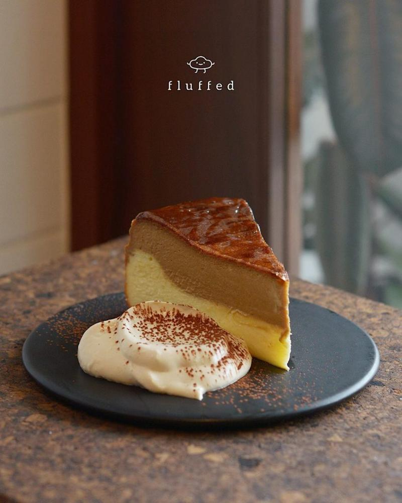 A slice of Dalgona burnt cheesecake by Fluffed. Photo: Fluffed/Instagram