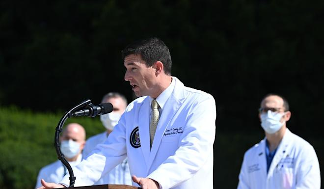 White House physician Sean Conley answers questions during an update on the condition of US President Donald Trump, on Sunday, at Walter Reed Medical Center in Bethesda, Maryland. Photo: AFP