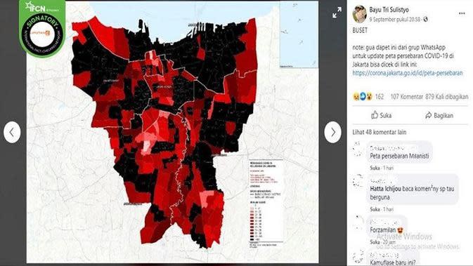 Gambar Tangkapan Layar Foto yang Diklaim Sebaran Covid-19 di DKI Jakarta (Foto: Facebook)