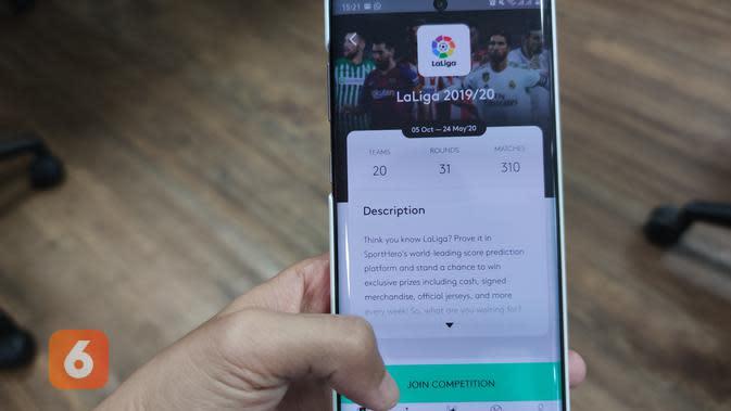 Cara mengikuti gim prediksi skor sepakbola LaLiga di aplikasi prediksi sepakbola SportsHero (Liputan6.com/ Agustin Setyo W)