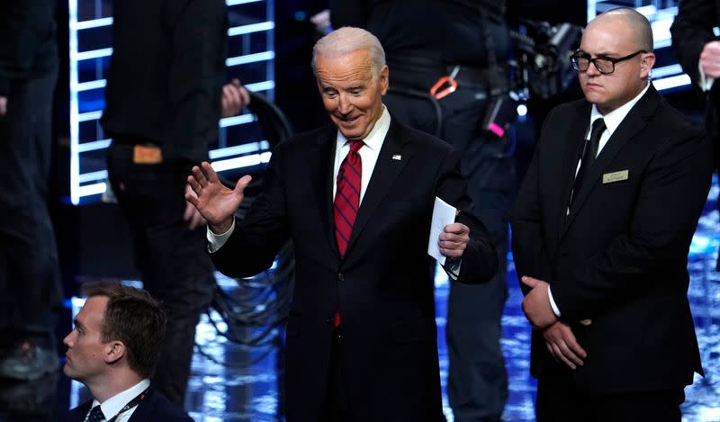Former Vice President Joe Biden reacts to the crowd at the end of the ninth Democratic 2020 U.S. Presidential candidates debate in Las Vegas Nevada, U.S.