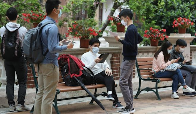 The medical students wore masks and sat at least two metres away from each other on Wednesday. Photo: Nora Tam