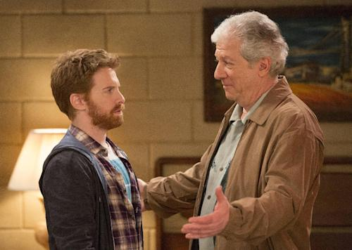 "This publicity image released by Fox shows Seth Green, left, and Peter Riegert in a scene from ""Dads,"" premiering Tuesday, Sept. 17 at 8 p.m. EST. (AP Photo/Fox, Jennifer Clasen)"